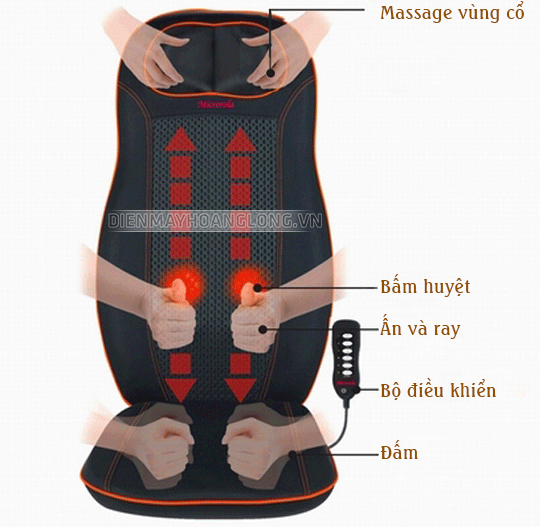 Đệm ghế massage toàn thân Nhật Bản, dải nệm mát xa hồng ngoại giảm đau Nhật Bản