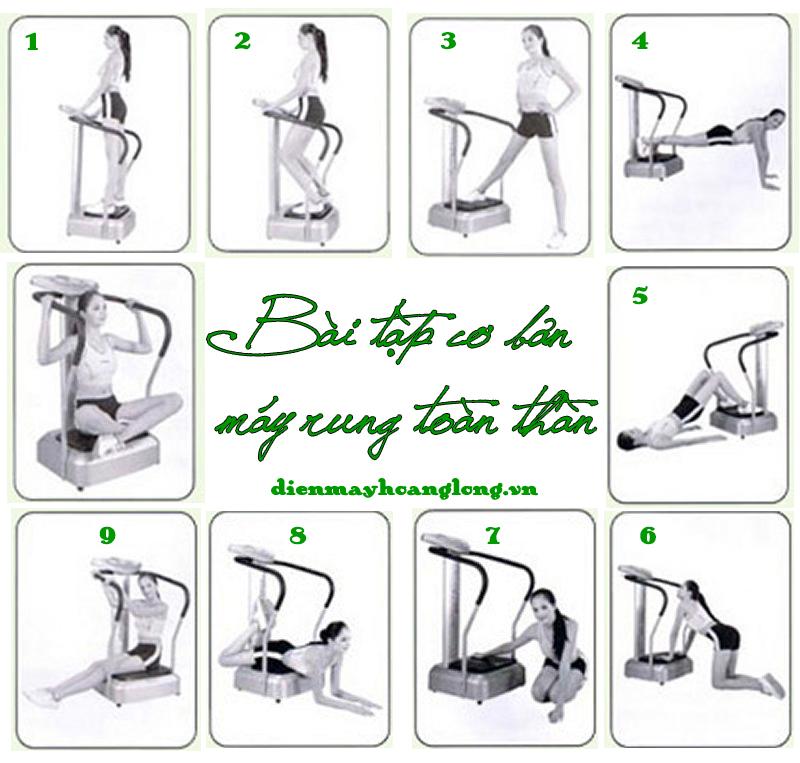 tư thế tập giảm cân với máy rung toàn thân crazy fit massage