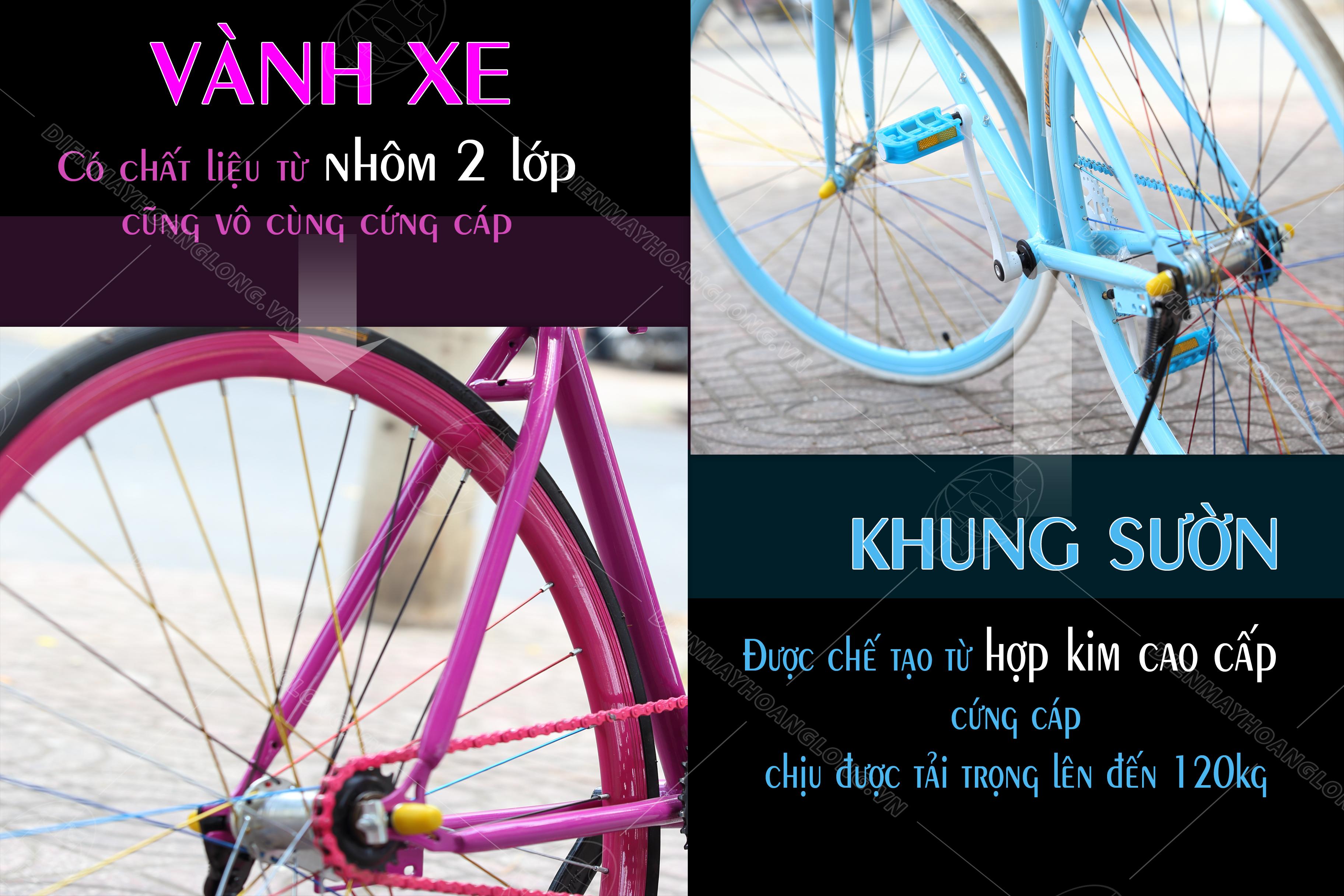 Xe đạp thời trang Ben Xanh ( Đỏ) - khung sườn xe